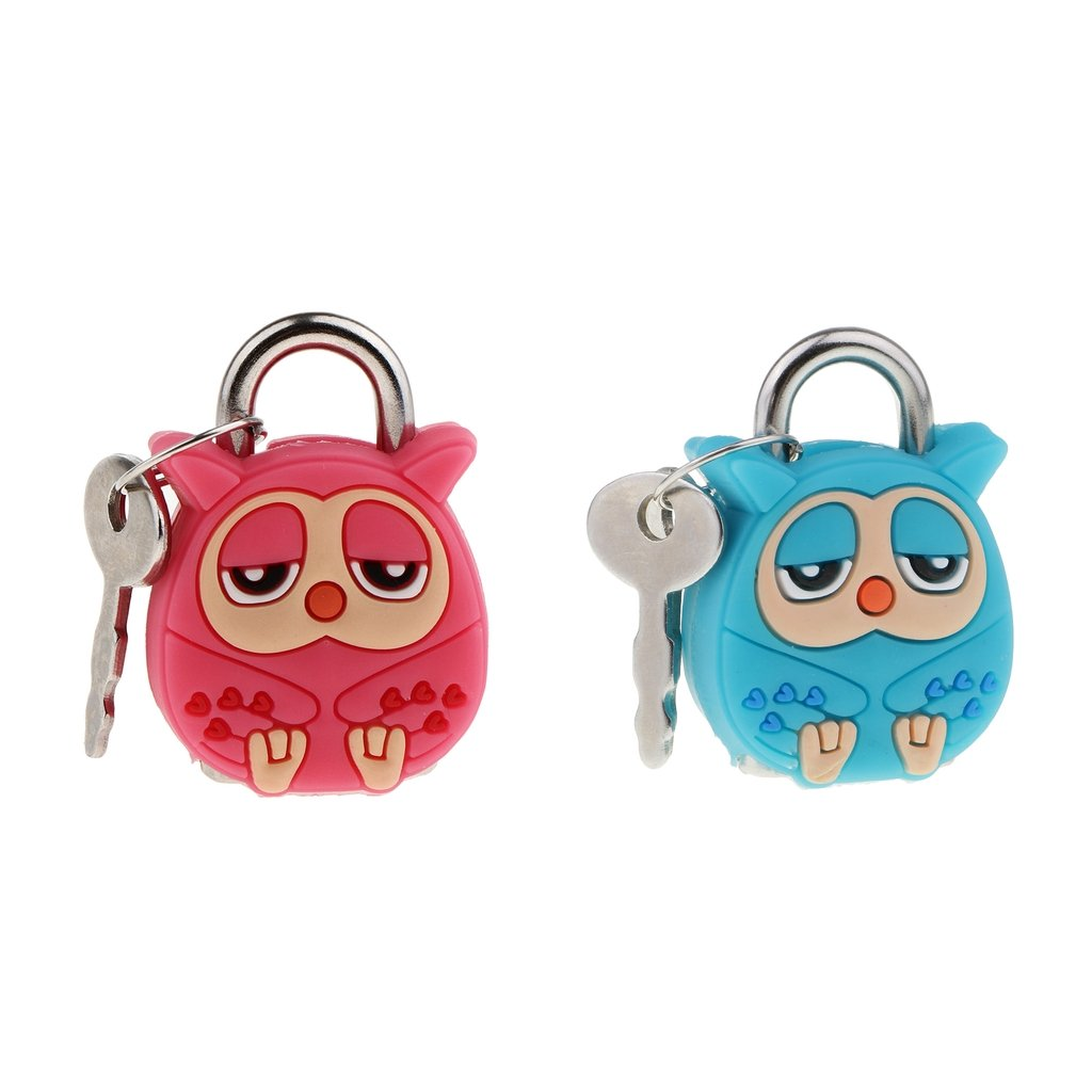 MagiDeal 2 Set Lovely Pink & Green Owl Security Lock kawaii Animal Cartoon Lock Novelty Padlock with Keys for Backpacks & Lockers Doors and Windows Suitcase Table Cabinets Convenient Mini Metal Lock non-brand