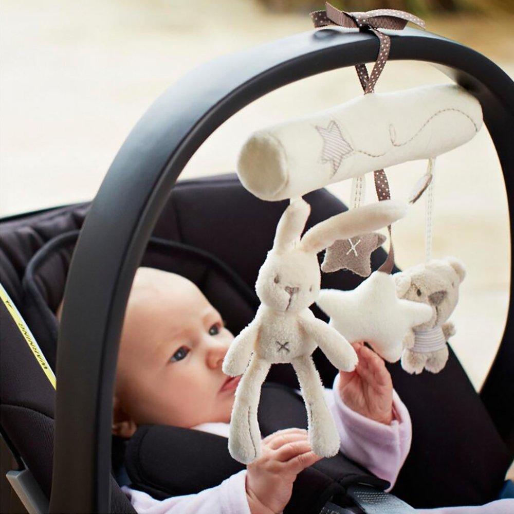 NeatoTek Baby Hanging Rattle Toys Soft Baby Music Plush Activity Crib Stroller Toys Rabbit Star Shape Toddlers Baby Girls Baby Boys