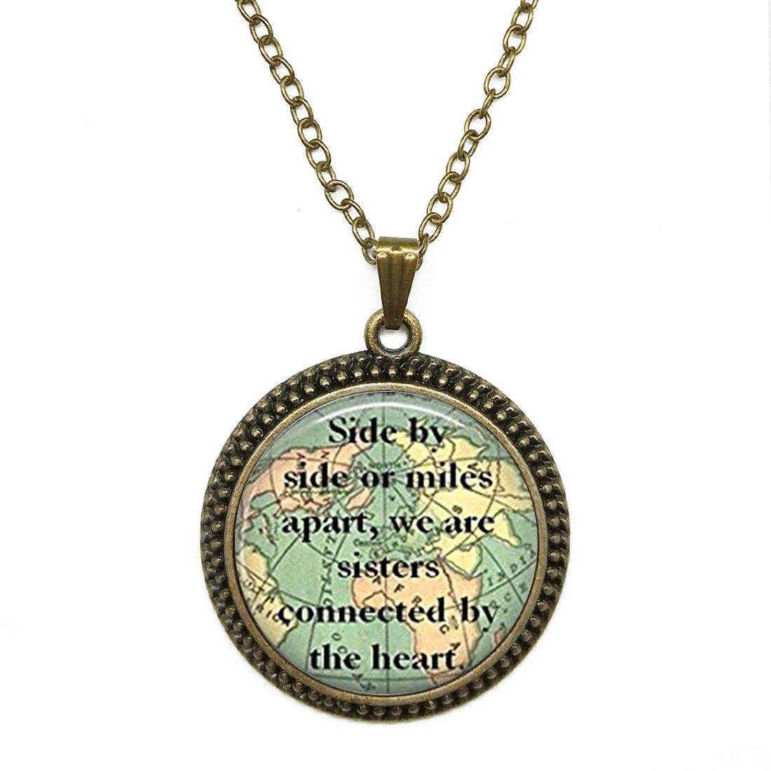 SunShine Day Bronze Necklace,Women/Mens Chain Necklace with Pendant Sister Map Travel World Map Deasign Mysterious Time Gem Pendant Chain Necklace Set by