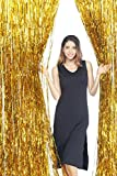 GOER 3.2 ft x 9.8 ft Metallic Tinsel Foil Fringe Curtains Party Photo Backdrop Wedding Decor (Gold,1 Pack)