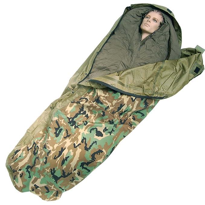 Mil-Tec Modular - Saco de dormir (3 capas) woodland: Amazon.es: Deportes y aire libre