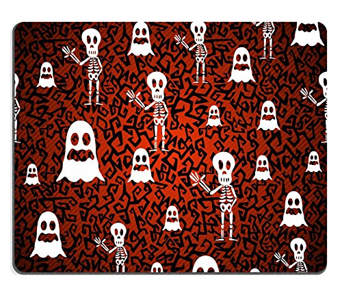 Liili Mouse Pad Natural Rubber Mousepad IMAGE ID: 22284429 Happy Halloween ghosts and skeletons seamless pattern (Happy Skeleton Costume)