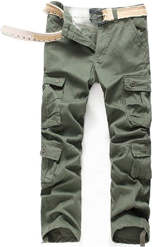 AngelSpace Men's Multi Pockets Baggy Casual Trousers Straight Combat Pants