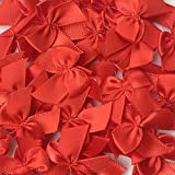 Chenkou Craft 60pcs Mini Satin Ribbon Bows DIY Craft Red Color