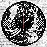 Owl Bird Vinyl Record Wall Clock Fan Art Handmade Decor Original Gift Unique Decorative Vinyl Clock 12″ (30 cm) For Sale