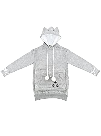 Sudadera con bolsillo para gato gris XXX-Large : Amazon.es: Ropa y accesorios