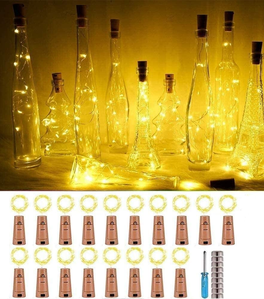 Wine Bottle String Lights with Cork,18 Pack 20 LED Warm White Mini Silver Copper Wire Fairy Lights Fit DIY Party Wedding Table Centerpieces Decor (Warm White)