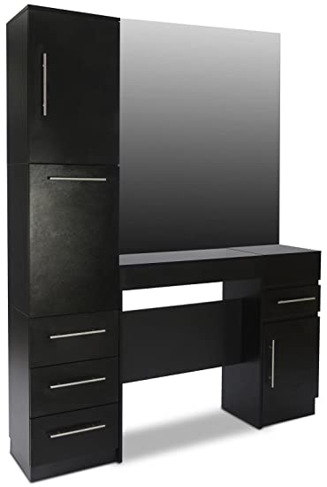 Icarusu0026quot;Modestou0026quot; Black Hair Salon Styling Station With Large Pull  Out Drawers And Cabinets