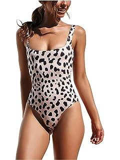 191e015e88ff8 Avidqueen Women's Bikini Hign Cut Leopard Print One Piece Monokini Swimsuits  Backless Thong Bathing Suits