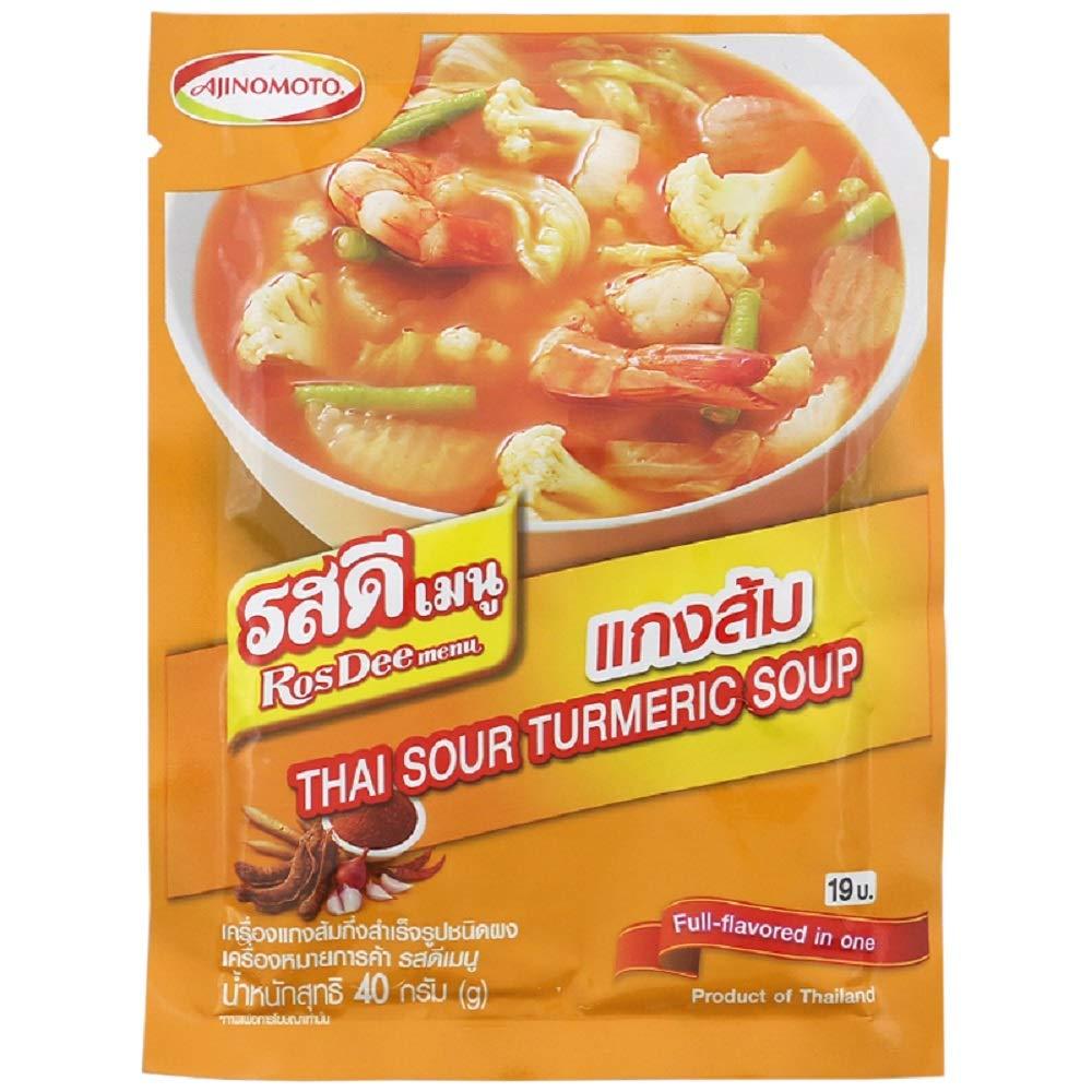 RosDee menu, Spicy and Sour Soup Powder, Thai Sour Turmeric Soup 40g X 3 Packs