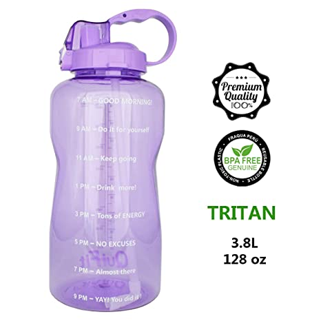 QuiFit Portable Drinking Straw Daily Water Bottle Sport Water Jug Gallon  BPA Free Non Leak Design with Time Marked to Ensure You Drink Enough of  Water ... 3a9314c7d