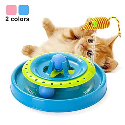 Cat Turntable Scratch Toys with Spring Mouse, Plastic Turbo Track Ball and Top Grid Ball