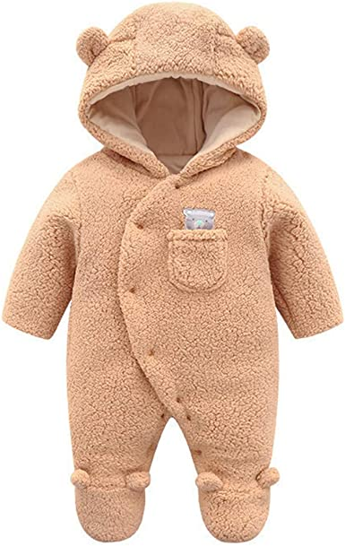 JiAmy Baby Winter Hooded Romper Fleece Snowsuit Warm Jumpsuit Outfit 0-12 Months