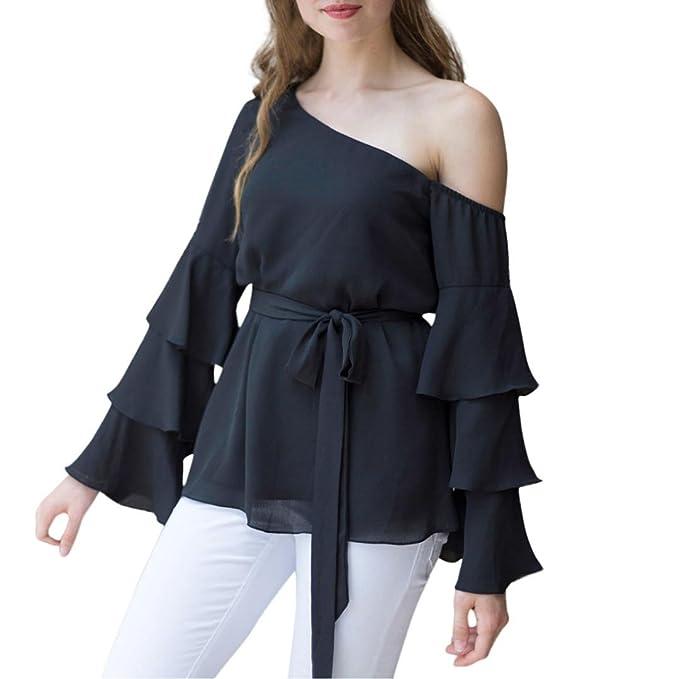 CICIYONER Camisa de Gasa con Hombros Descubiertos y Blusa Casual Camisa de Blusa Suelta con Hombros