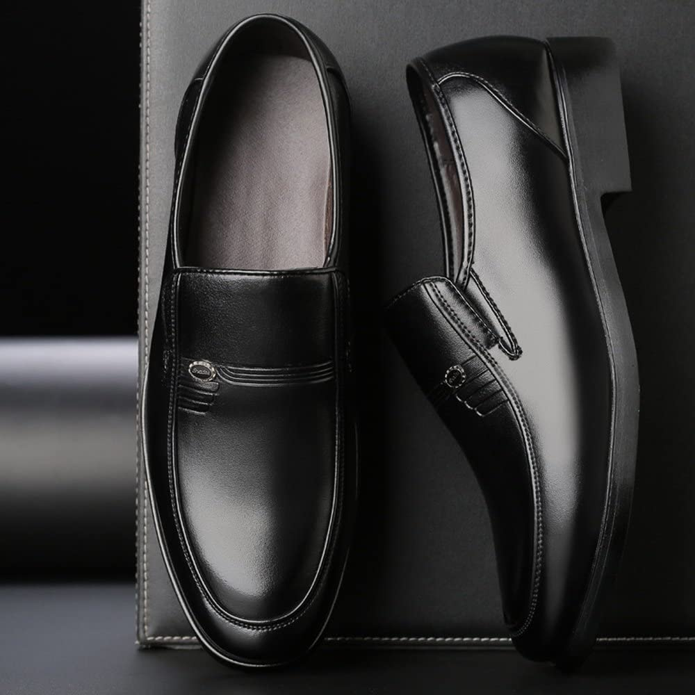 YLY Classic Mens Shoes PU Leather Loafers Slip-on Soft Sole Business Breathable Lined Oxfords Dress Shoes