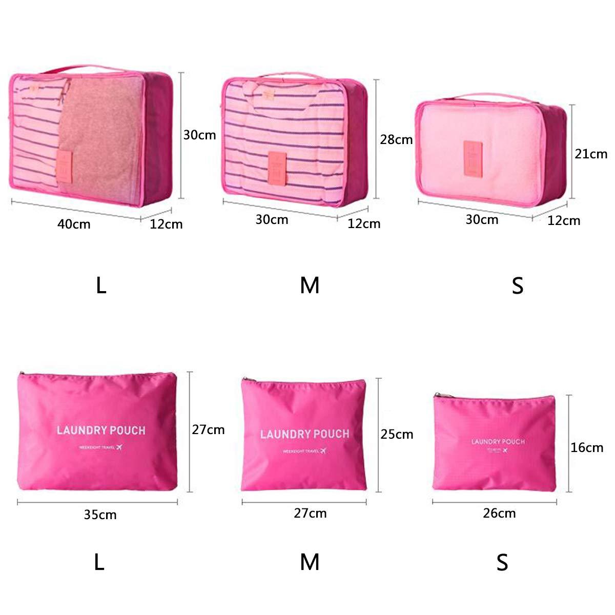 Coolzon Organizador Equipaje de Viaje Impermeable Cubos Embalaje Bolsa de Zapato Organizador Maleta Packing Cubes Azul Oscuro 6 Set