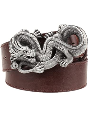 Moolecole Men's Dragon Shaped Big Buckle Belt Fashion Jeans Accessories