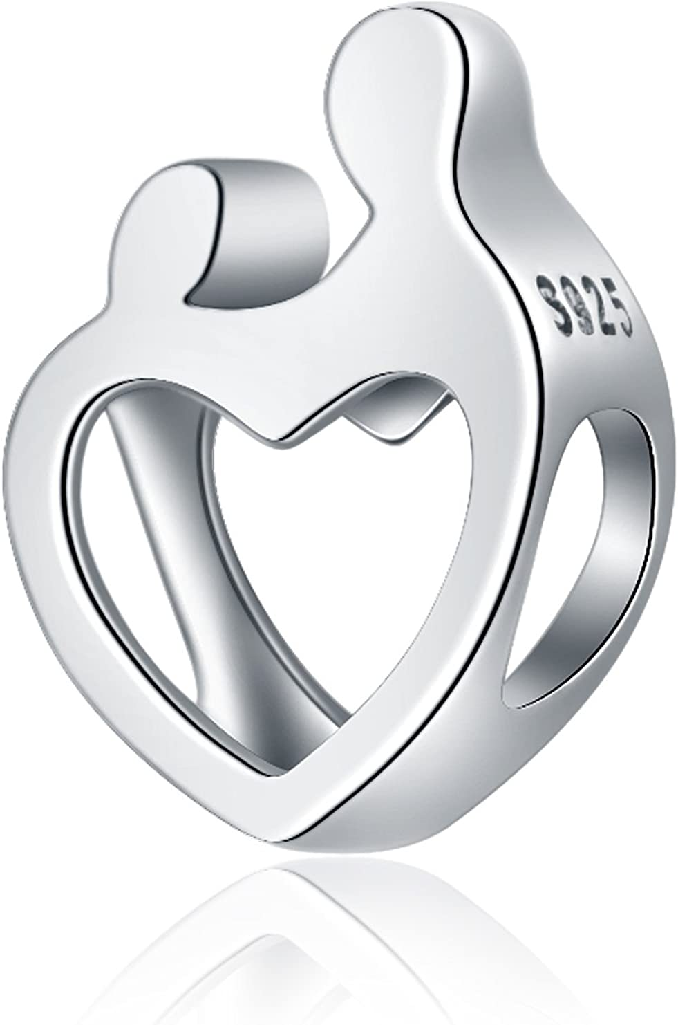 Amour Famille M/ère et fille fils C/œur Argent sterling 925/Charms Perle cadeaux de No/ël Mom pour cha/îne serpent Bracelets Collier Bijoux