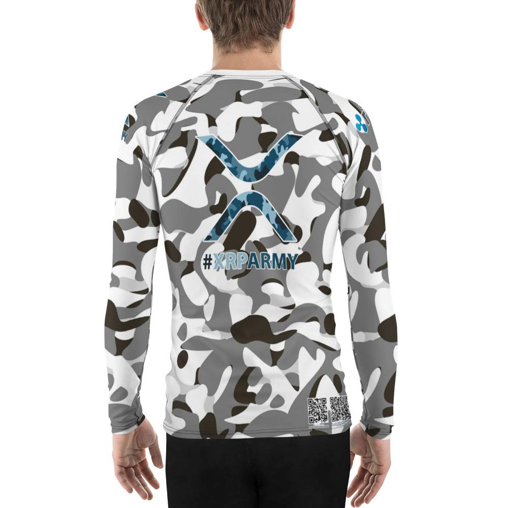 Men Winter Camouflage Ripple Cryptocurrency Mens Rash Guard Fitness Jiu Jitsu Paintball Xrp Army Active