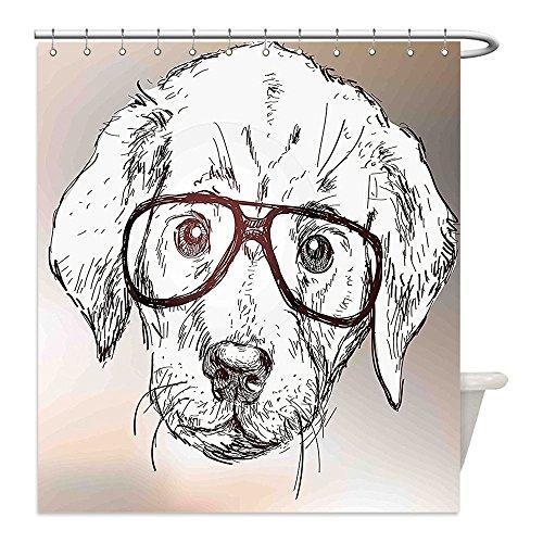 Liguo88 Custom Waterproof Bathroom Shower Curtain Polyester Modern Cute Hipster Puppy with Glasses Smart Dog Nerd Animal Humor Fun Graphic Design White Tan Brown Decorative bathroom