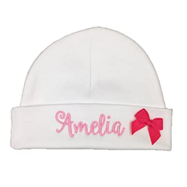 9a4dfc1b878 Personalized Baby Girl hat with Pink Bow - Custom Preemie Girl hat