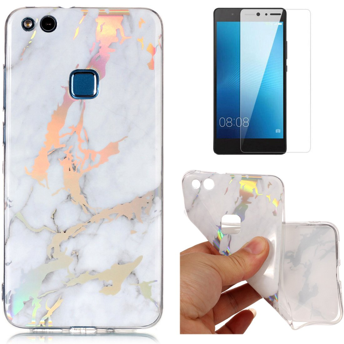 For Huawei P10 Lite Marble Case White, OYIME Unique Luxury Glitter Colorful Plating Pattern Skin Design Clear Silicone Rubber Slim Fit Ultra Thin Protective Back Cover Glossy Soft Gel TPU Shell Shockproof Drop Protection Protective Transparent Bumper and S