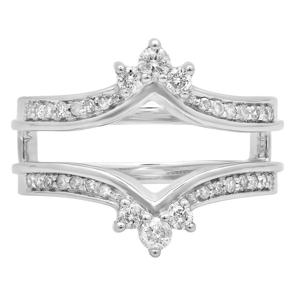 0.40 Carat (ctw) 14K White Gold Round White Diamond Wedding Band Enhancer Guard Double Ring (Size 6.5)