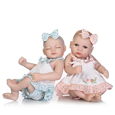 "TERABITHIA Mini 10"" Lifelike Reborn Baby Girls Dolls Silicone Full Body Newborn Twins Washable: Toys & Games"