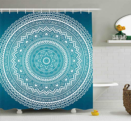 Ambesonne Turquoise Ombre Shower Curtain, Mandala Medallion Starry Design with Flower in Middle Ethnic Ethnic Art, Fabric Bathroom Decor Set with Hooks, 70 Inches, Dark Turquoise