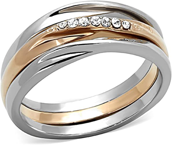 Amazon Com Rose Gold Plated Stainless Steel 3 Piece Wedding Ring Set Women S Size 5 10 Jewelry