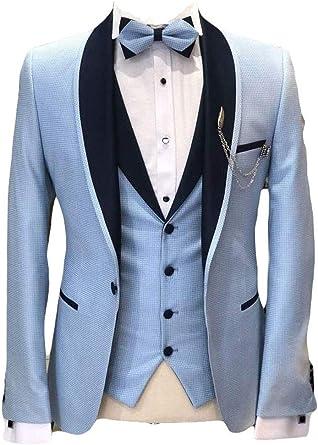 Botong Mens Shawl Lapel Wedding Suits 3 Pieces Groom Tuxedos Jacket Vest Pants Prom Suits