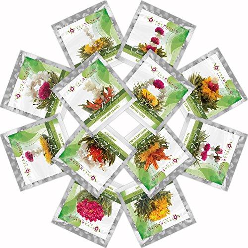 Teabloom Natural Flowering Tea - 12 Unique Varieties of Blooming Tea Balls - Hand-Tied Green Tea & Edible Flowers - 12-Pack Gift Canister - 36 Steeps, Makes 250 Cups by Teabloom (Image #1)