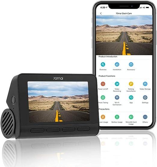 "Amazon.com: 70mai Smart Dash Cam 4K A800, Sony IMX415 Native True 4K 2160p 3840x2160, WiFi Dash Camera for Cars, Smart Car Camera G-Sensor, 3"" IPS Screen, Built-in GPS ADAS, iOS/Android Mobile App WiFi (2021): Car Electronics"