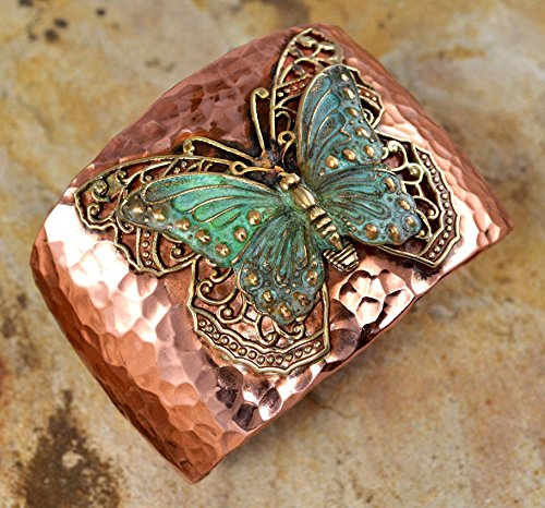 (Forged Copper and Patina Brass Neo-Victorian Butterfly with Filigree Cuff Bracelet)