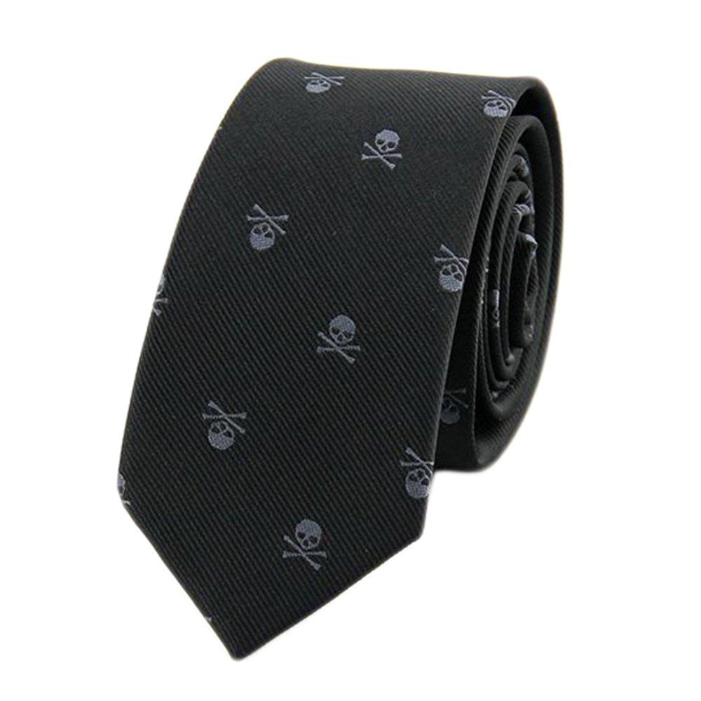 Men's Tie Skull Printed Neck Tie Dark Colors Party Business Novelty Ties 6 x 146cm