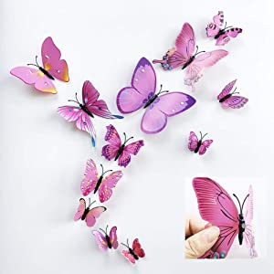 36pcs 3D Colorful Butterfly Wall Stickers DIY Art Decor Crafts for Party Nursery Classroom Offices Kids Girl Boy Baby Bedroom Bathroom Living Room Magnets and Glue Sticker Set (RED-Single Wing)