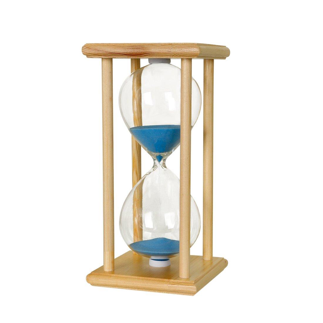 BOJIN Sea Blue Decor Hourglass Sand Timer - 60 Minutes Classical Wood Frame BOJ002170