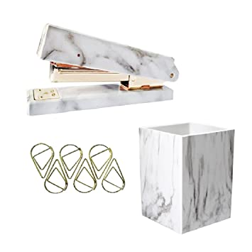 UNIQOOO 3 Count Marble Print Gold Finished Stationery Set Desk Stapler Pen  Holder Paper Amazon Com. Fashionable Idea Hanging ...