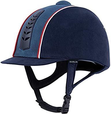 Dublin Silver Pro Horse Piped Riding Hat Navy//White//Red