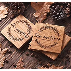 Custom coasters Engraved Wedding favor Bridal shower gift Wood coaster Personalized set of 4 and 6 Housewarming Gift wooden floral monogram wreath square