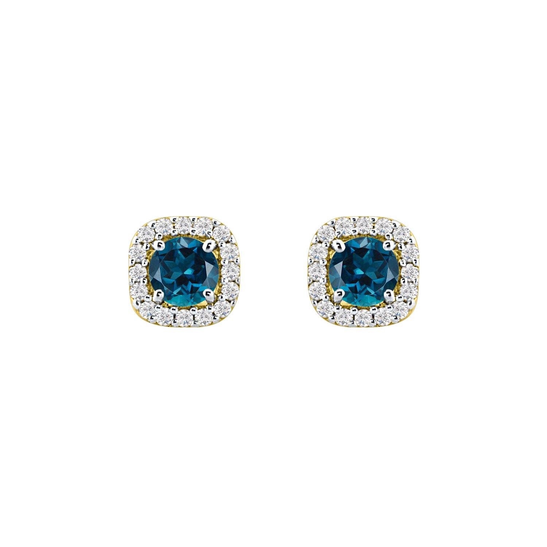 5mm CZ Simulated Blue Topaz Screw Back Cushion Shape Halo Stud Earrings For Women Girls White Gold Over