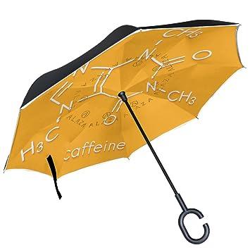 ALAZA química fórmula en naranja paraguas invertido doble capa resistente al viento Reverse paraguas