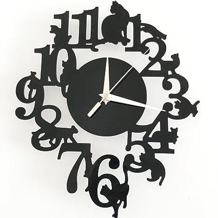 trre de dibujos animados creativos gato reloj de pared salón joyas Reloj de pared Stock Reloj