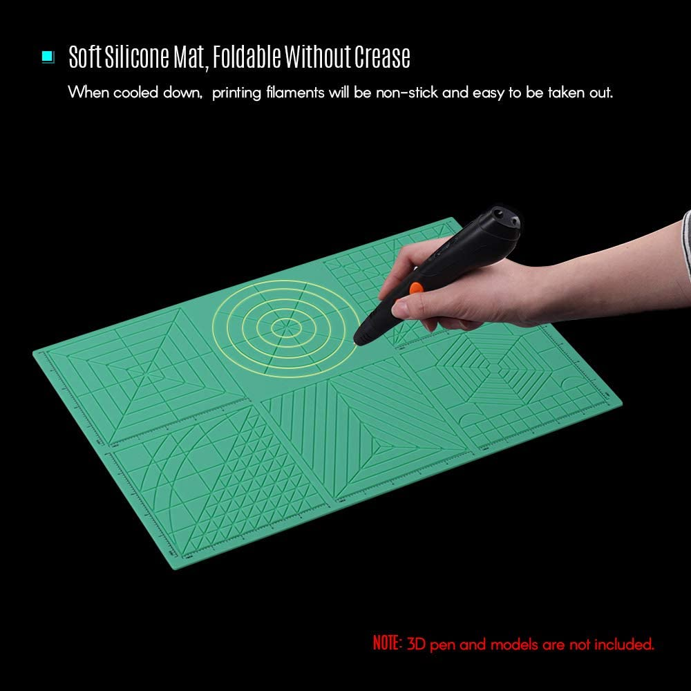 Leslaur Modello di penna per stampa 3D multiuso Modelli di disegno 3D in morbido silicone Mat Copia bordo con 2pz Fingerstalls