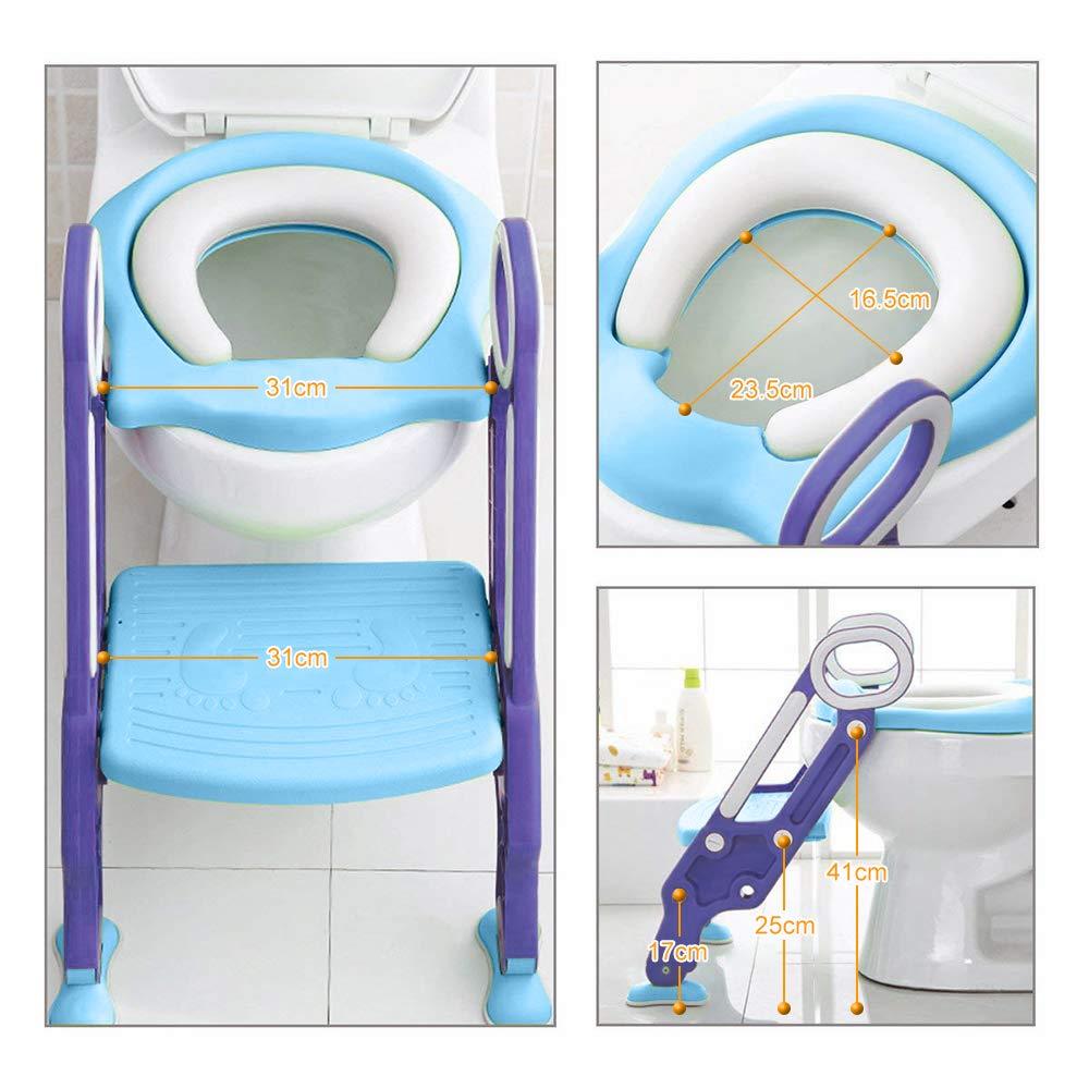 Spritzschutz Zusammenklappbar Blau-Lila Yoleo T/öpfchen-Trainer Toilettensitz Kinder mit Treppe f/ür 99/% Toiletten Weiche Matte