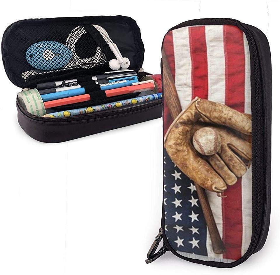 Béisbol con la bandera americana de EE. UU. Lindo estuche para lápices Estuche de cuero de gran capacidad Cremalleras dobles Bolsa para lápices Bolsa Estuche para lápices 20cm * 9cm * 4cm