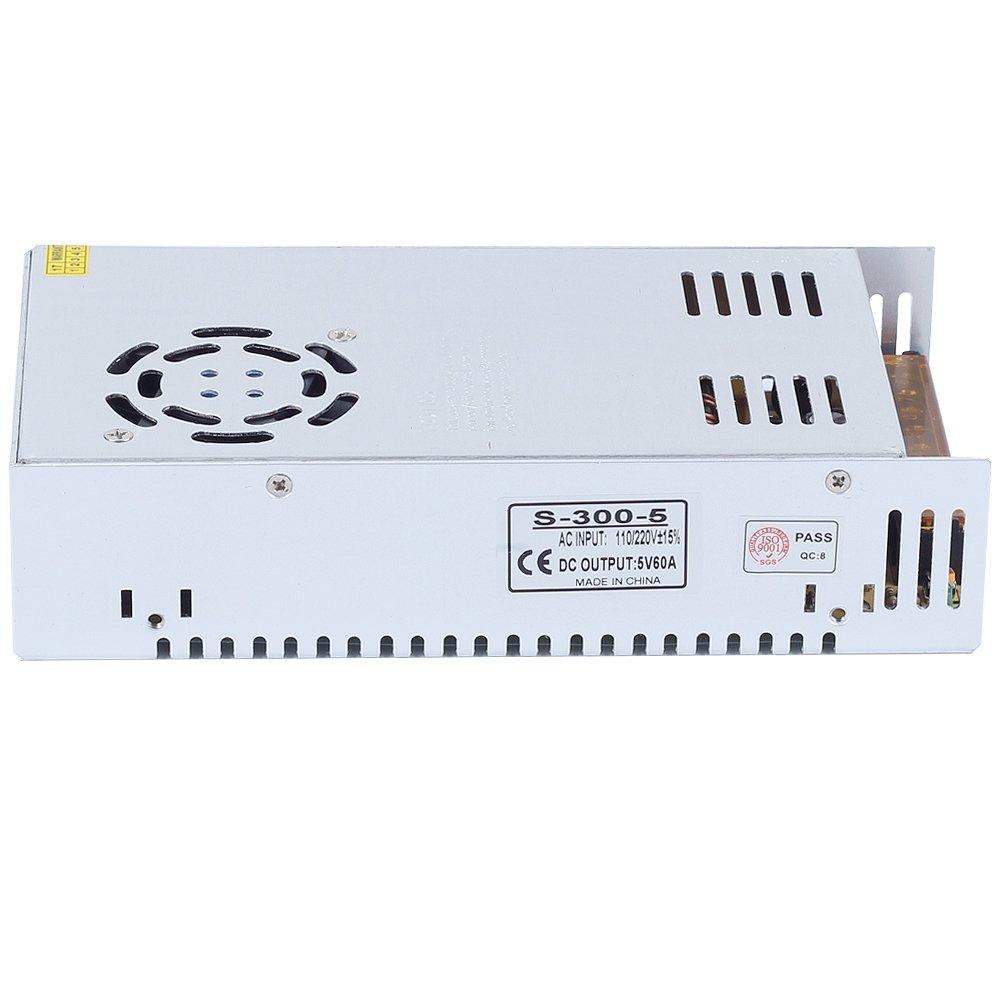 CHINLY AC 110//220V a DC5V 60A 300W Controlador LED Transformador de fuente de alimentaci/ón conmutada para WS2811 2801 WS2812B WS2813 APA102 LED Strip Pixel Light