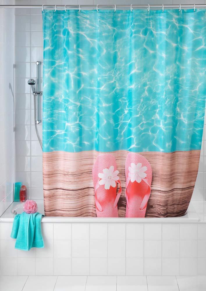 180 x 200 x 0.1 cm Mehrfarbig mit 12 Duschvorhangringen Polyester Wenko Duschvorhang Downtown waschbar
