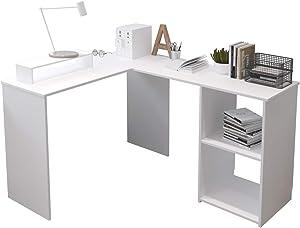 EUCO Escritorio para ordenador, color blanco, de madera, en forma de L, estación de trabajo grande, para juegos, mesa de estudio para hogar/oficina, 135 x 111 cm