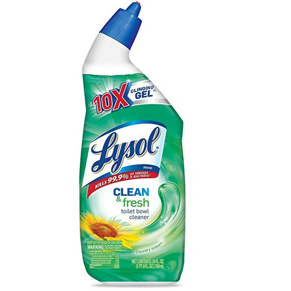 Lysol Power & Fresh Cling Toilet Bowl Cleaner, Country Scent, 24 oz (Pack of 5)
